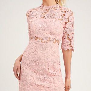 Lulus fine romance blush lace sheath dress new